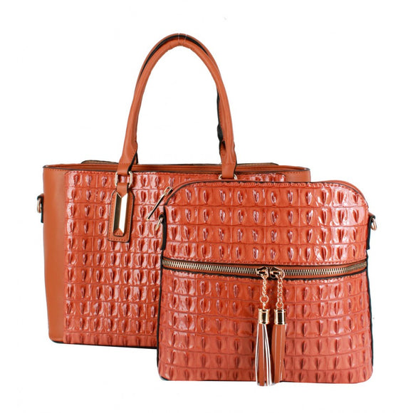 Crocodile pattern 2 in 1 bag - brown