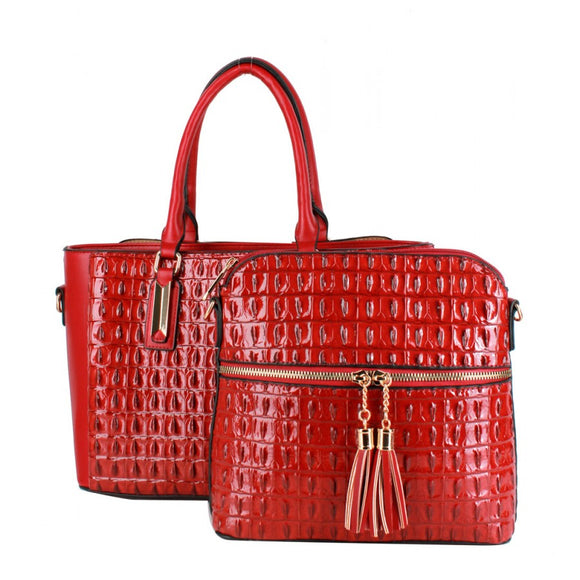 Crocodile pattern 2 in 1 bag - red