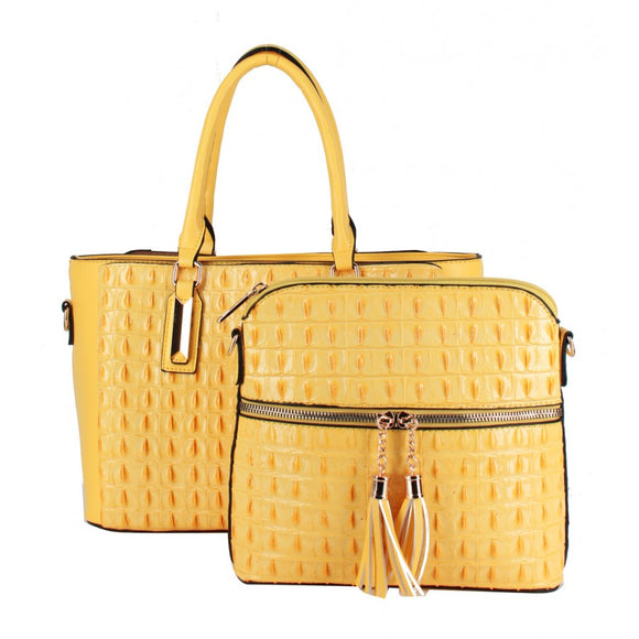 Crocodile pattern 2 in 1 bag - yellow