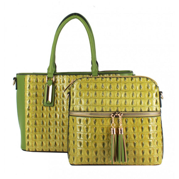 Crocodile pattern 2 in 1 bag - green