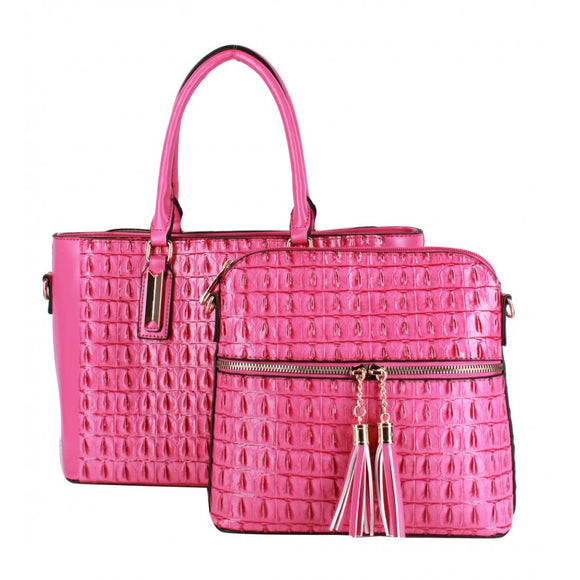Crocodile pattern 2 in 1 bag - rose