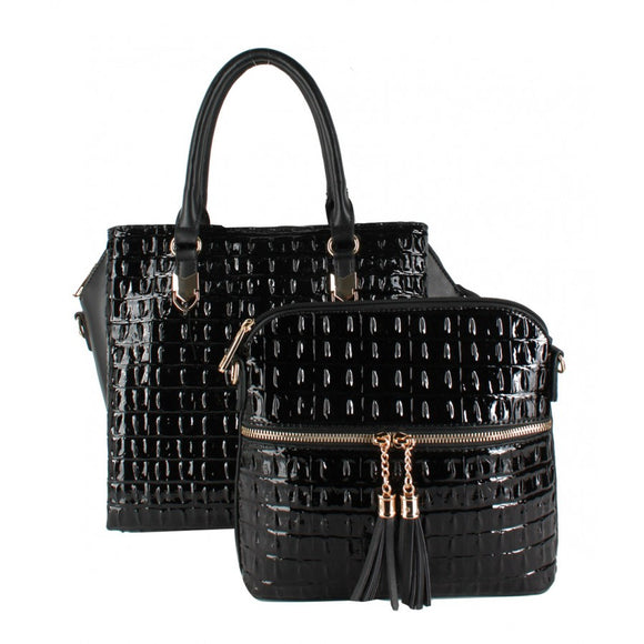 2 in 1 Crocodile pattern tote - black