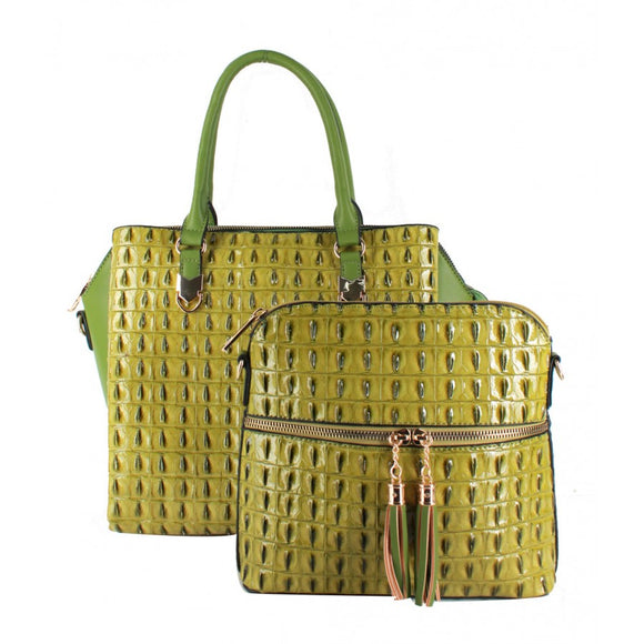 2 in 1 Crocodile pattern tote - green
