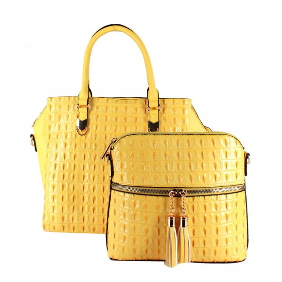2 in 1 Crocodile pattern tote - yellow