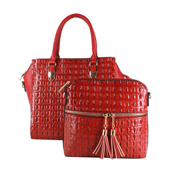 2 in 1 Crocodile pattern tote - red