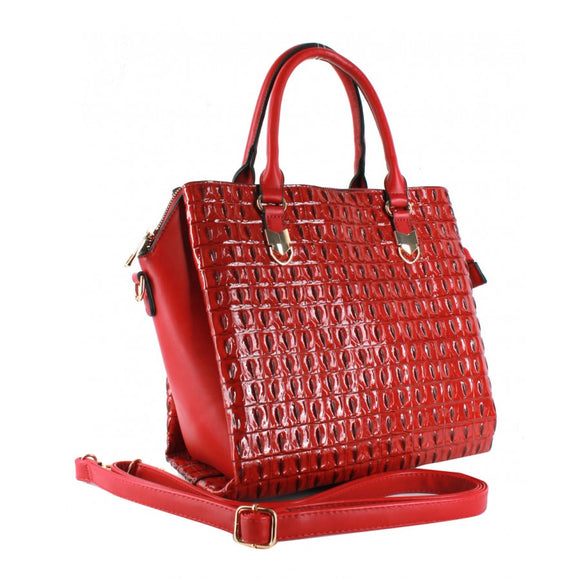 2 in 1 Crocodile pattern tote - fuchsia