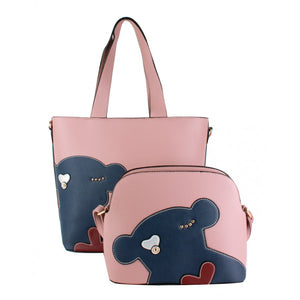 Fashion bear shopper bag set - pink