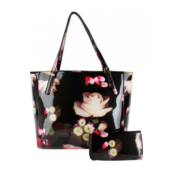 Glossy flower print bag with wallet - black