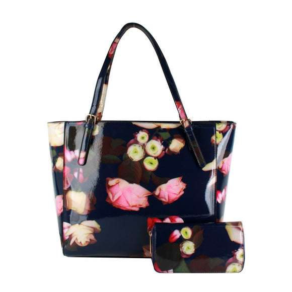 Glossy flower print bag with wallet - blue
