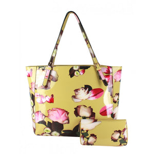 Glossy flower print bag with wallet - mustard
