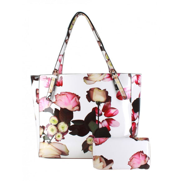 Glossy flower print bag with wallet - white