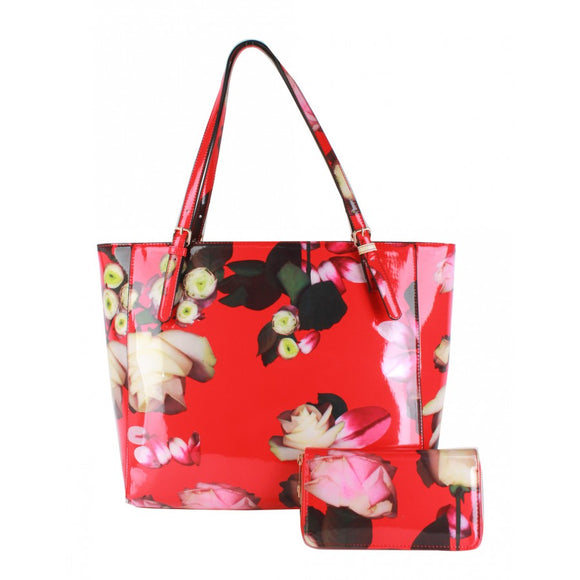 Glossy flower print bag with wallet - red