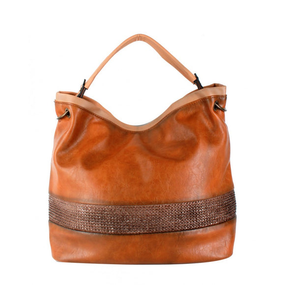 Straw striped shoulder bag - brown