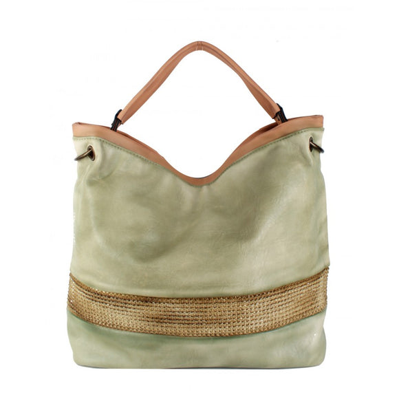 Straw striped shoulder bag - olive
