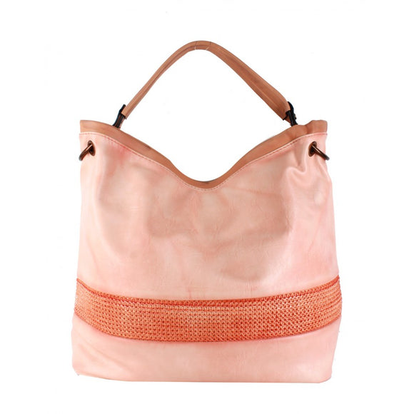 Straw striped shoulder bag - orange