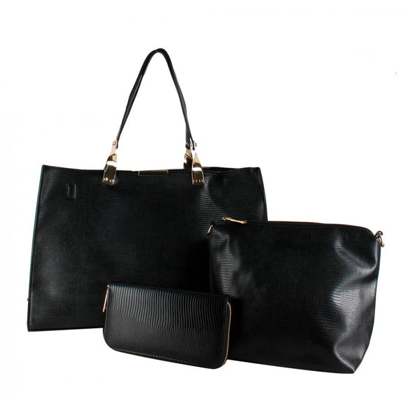 3 in 1 snake skin pattern tote - black
