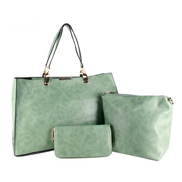 3 in 1 snake skin pattern tote - mint