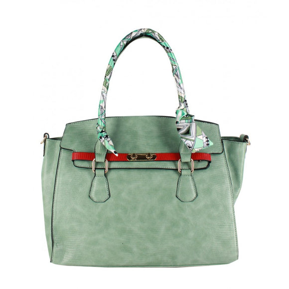 Snake skin pattern tote with fashion scarf - mint