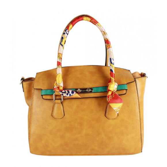 Snake skin pattern tote with fashion scarf - yellow
