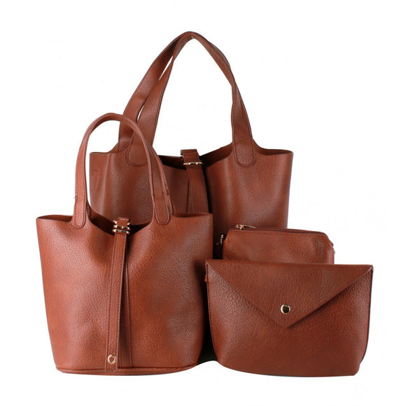 3 in 1 buckle closer tote - brown