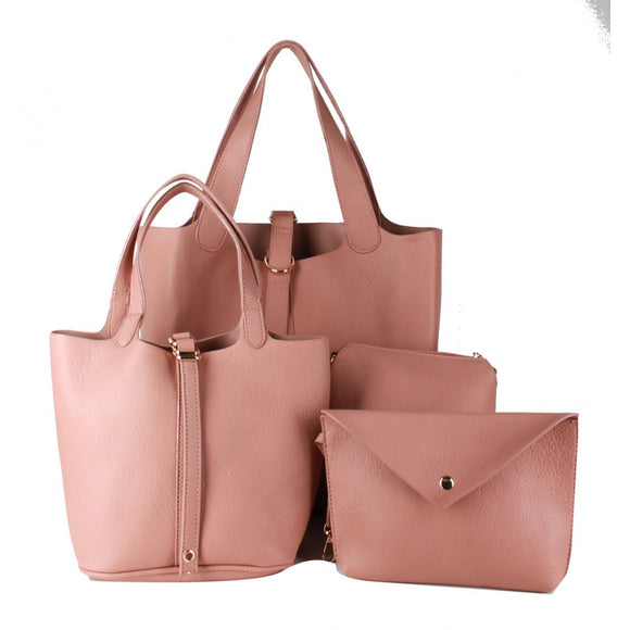 3 in 1 buckle closer tote - pink