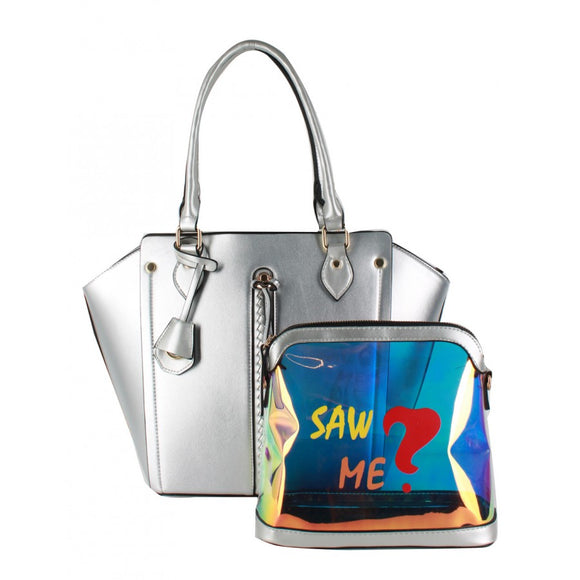 Silver tote and fashion pouch
