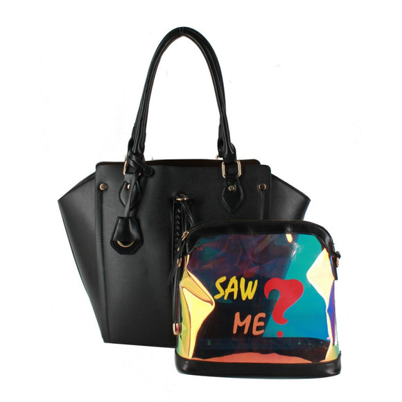 Black tote and fashion pouch