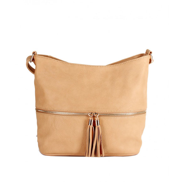 Tassel zipper crossbody bag - tan