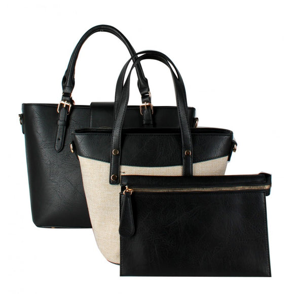 3 in 1 turn lock tote set - black