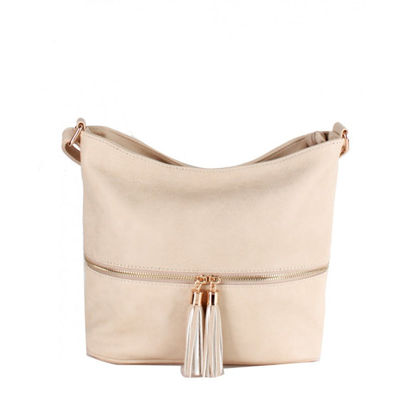 Tassel zipper crossbody bag - sand