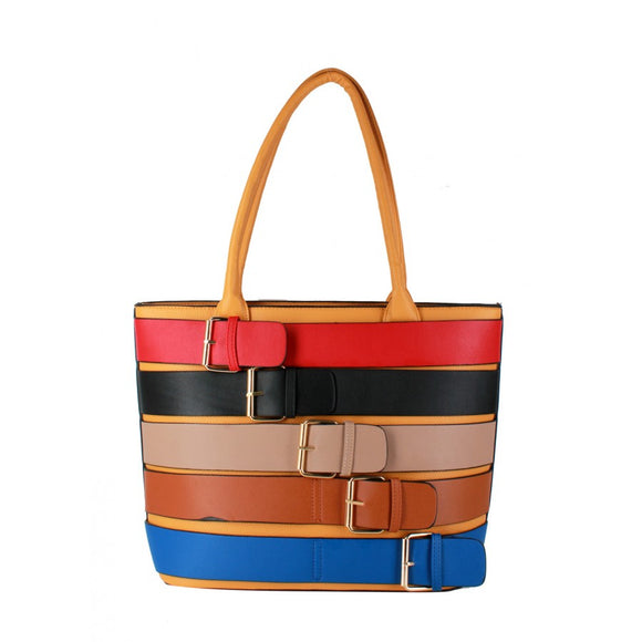Colorful belted tote - yellow