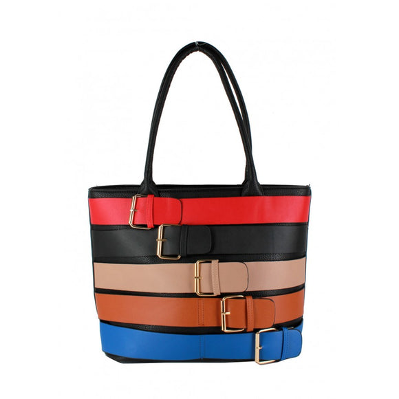 Colorful belted tote - black/red