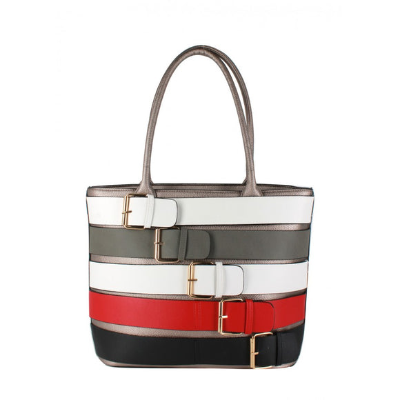 Colorful belted tote - bronze