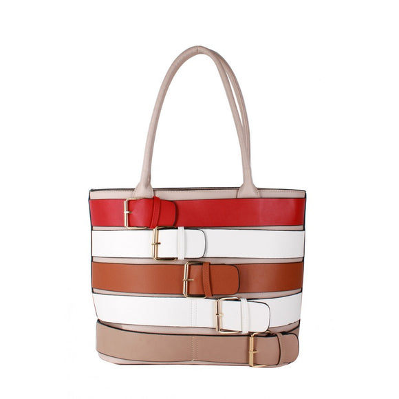 Colorful belted tote - beige/apricot
