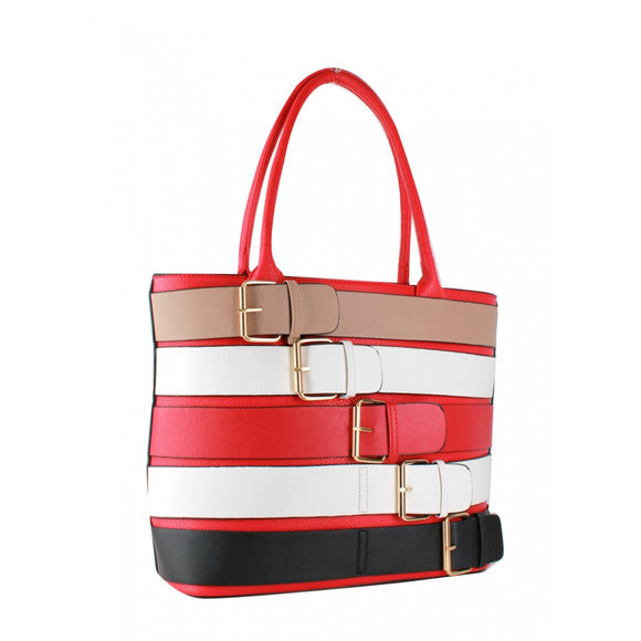 Colorful belted tote - red
