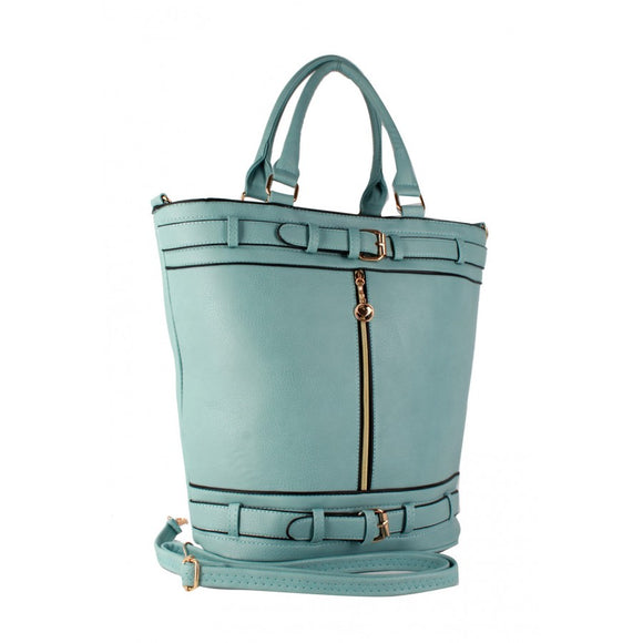 Double belted fashion tote - blue