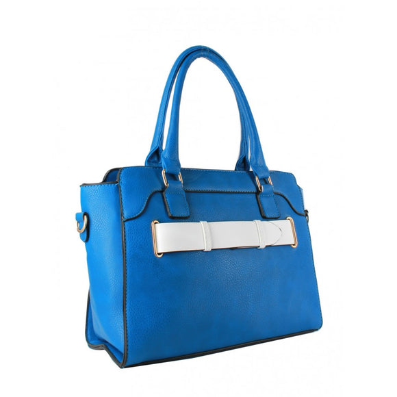 Belted fashion tote - white