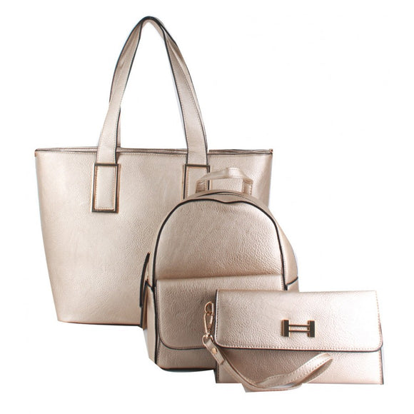 3 in 1 shopper tote and classic backpack - gold