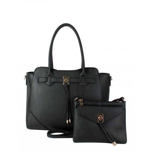 Turn lock tote and crossbody bag - black