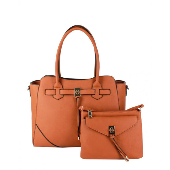 Turn lock tote and crossbody bag - brown