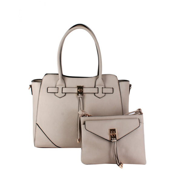 Turn lock tote and crossbody bag - grey