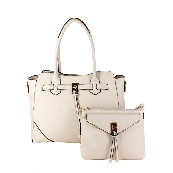 Turn lock tote and crossbody bag - off white