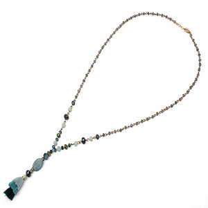 Semi precious w/ tassel necklace - teal blue