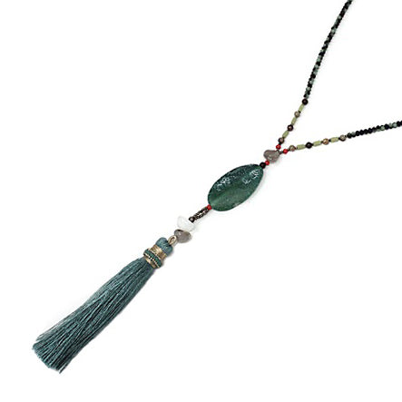 Semi precious w/ tassel necklace - green