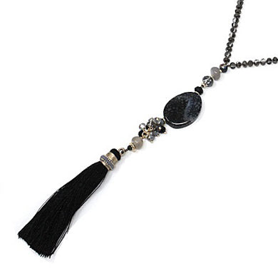 Semi precious w/ tassel necklace - black