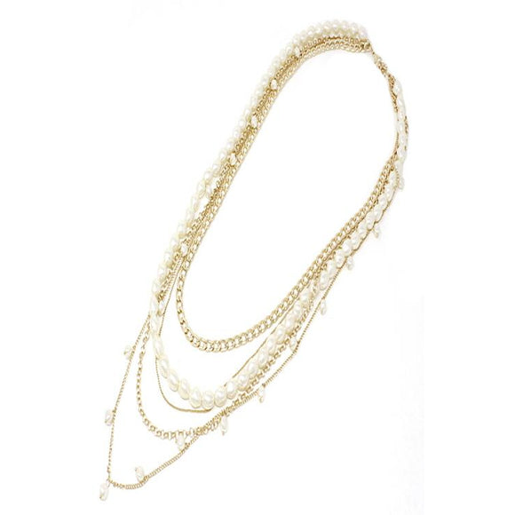 LAYERED PEARL & CHAIN NECKLACE SET