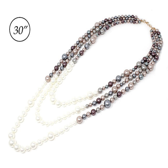 Multi layered Pearl necklace set - cream multi