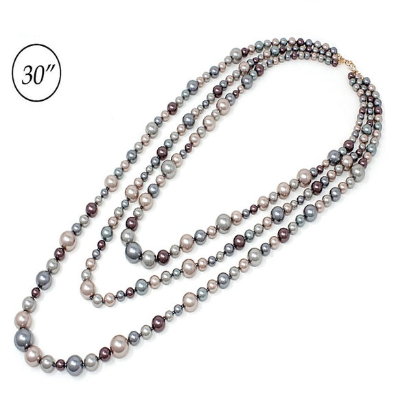 Multi layered Pearl necklace set - multi