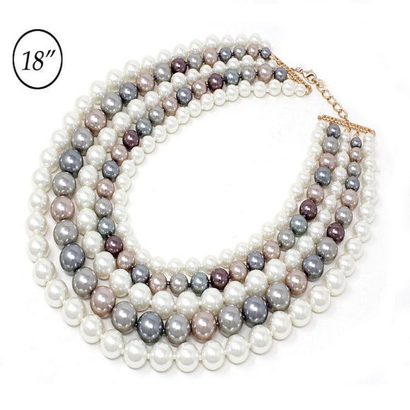 Chunky multi pearl necklace set