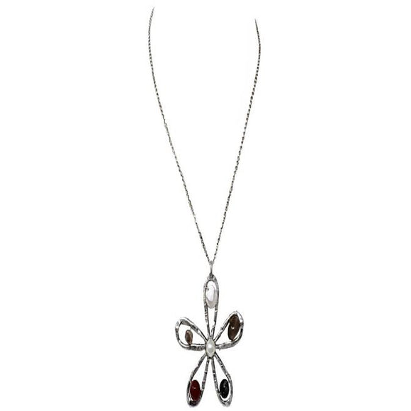 FLOWER NECKLACE SET - BURN SILVER
